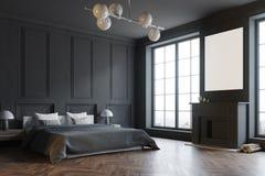 Stylish master bedroom corner, black vector illustration