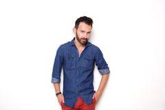 Stylish mature guy posing over white background Stock Images