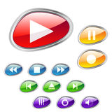 Stylish media buttons. Set of stylish media player buttons with color options-easy to edit Stock Photography