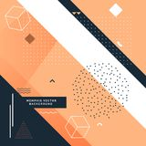 Stylish memphis background with abstract shapes. Vector Stock Image
