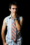 Stylish men. Young man on a black background Royalty Free Stock Photo