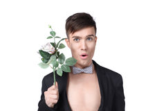 Stylish men with flowers Stock Photo