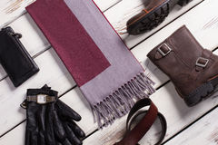 Stylish men's accessories and clothing. Royalty Free Stock Photo