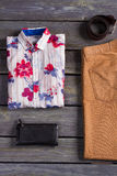 Stylish men's clothing. Beautiful and stylish men's clothing and accessories Royalty Free Stock Photos