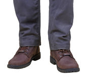 Stylish men's fall boots. And trousers Royalty Free Stock Images