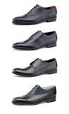 Stylish men's shoes on white. Collage elegant men's shoes on white Stock Photography