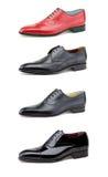 Stylish men's shoes on white. Collage elegant men's shoes on white Royalty Free Stock Photography