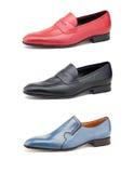 Stylish men's shoes on white. Royalty Free Stock Photography