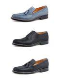 Stylish men's shoes on white. Collage elegant men's shoes on white Royalty Free Stock Image