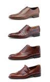 Stylish men's shoes on white. Collage elegant men's shoes on white Stock Image