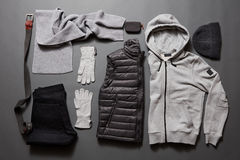Stylish men& x27;s warm clothing and accessories. Royalty Free Stock Photos