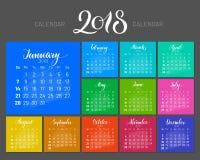 Stylish menology, 2018, January separately, dark background, multicolored, lettering. Stylish menology 2018. January separately, multicolored sheets on dark Royalty Free Stock Image