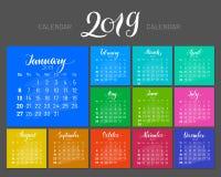 Stylish menology, 2019, January separately, dark background, multicolored, lettering. Stylish menology 2019. January separately, multicolored sheets on dark Stock Photos