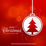 Stylish merry christmas festival greeting with ball and tree. Design illustration Stock Photography