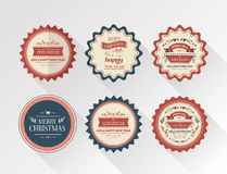 Stylish merry christmas message badges vector Royalty Free Stock Image