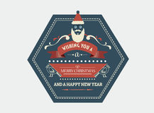 Stylish merry christmas message banner with illustrations Stock Photos
