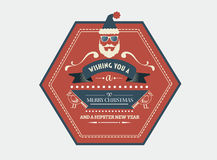 Stylish merry christmas message banner with illustrations Royalty Free Stock Image