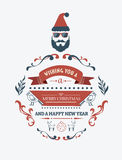 Stylish merry christmas message banner with illustrations Stock Photo