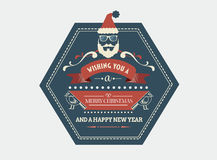Stylish merry christmas message banner with illustrations Stock Images