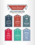 Stylish merry christmas message tags vector Royalty Free Stock Images