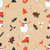 Stylish Merry Christmas seamless pattern with Snowman. Merry Christmas seamless pattern with decorative elements Stock Images