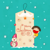 Stylish Merry Christmas tag with boy and snowman. Royalty Free Stock Image