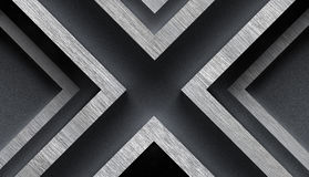 Stylish Metal Background with X Shape - 3D Illustration Stock Image