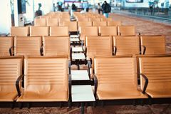 Stylish metallic chairs of an airport unique photo. Beautiful metallic chairs of an airport terminal object unique photograph royalty free stock photos