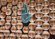 Stylish metallic hand sign of an interior decoration wall unique photo. A beautiful metallic hand signs of an interior wall decoration of a restaurant isolated royalty free stock photo
