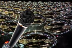 Stylish microphone on colored background Royalty Free Stock Image