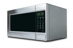 Stylish microwave oven on white background. Stylish hi-tech microwave oven isolated on white background stock photos