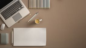 Stylish minimal office table desk. Workspace with laptop, notebook, pencils, coffee cup and sample color palette on dark beige bac vector illustration