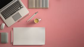 Stylish minimal office table desk. Workspace with laptop, notebook, pencils, coffee cup and sample color palette on pastel pink ba vector illustration