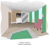 Stylish minimalism bedroom interior sketch. Stock Photo