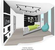 Stylish minimalism bedroom interior sketch. Stock Image