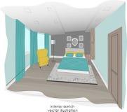 Stylish minimalism bedroom interior sketch. Royalty Free Stock Images