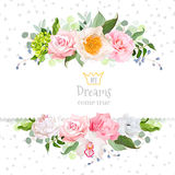 Stylish mix of flowers horizontal vector design frame. Stock Image