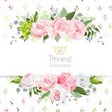 Stylish mix of flowers horizontal vector design frame. Stock Images