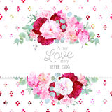 Stylish mix of flowers horizontal vector design frame Stock Photos