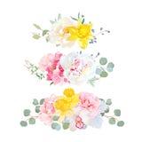 Stylish mix of horizontal bouquets vector design set. Royalty Free Stock Photo