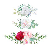Stylish mix of horizontal flower bouquets vector design flowers set Royalty Free Stock Images