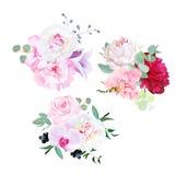 Stylish mix of seasonal bouquets vector design set Royalty Free Stock Image