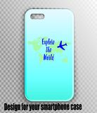 Stylish mock-up of iPhone case with designer print. Vector mockup of stylish smartphone case. Turquoise gradient cover for the traveler: a map of the world and a royalty free illustration