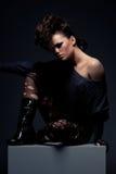 Stylish model with naked shoulder Royalty Free Stock Photos