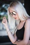 Stylish model posing outdoors Stock Photo