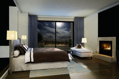 Stylish modern bedroom Stock Images