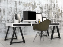 Stylish modern black and white office interior Royalty Free Stock Photography