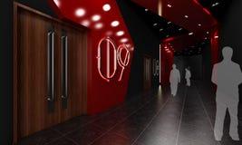 Stylish modern corridor. 3d illustration of silhouetted people in a stylish modern corridor with decorative red lighting Stock Photos