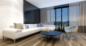 Stylish modern entertainment room. With a huge wall mounted television set in front of panoramic view windows overlooking countryside, generic couch and tub royalty free stock image