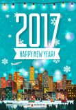 Stylish modern flat New Year detailed poster. With city scape, peoples, vehicles, walking people, airplane. Holidays Mood. Urban skyscrapers with lighted royalty free illustration